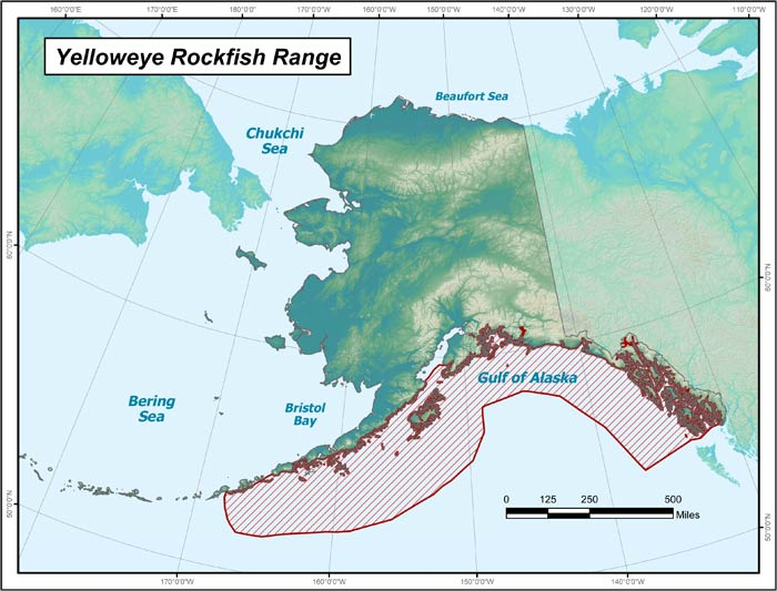 Range map of Yelloweye Rockfish in Alaska