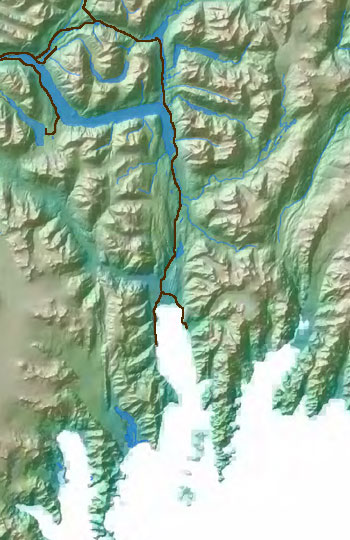 map of southeastern Kenai Peninsula