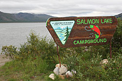 Salmon Lake Campground sign