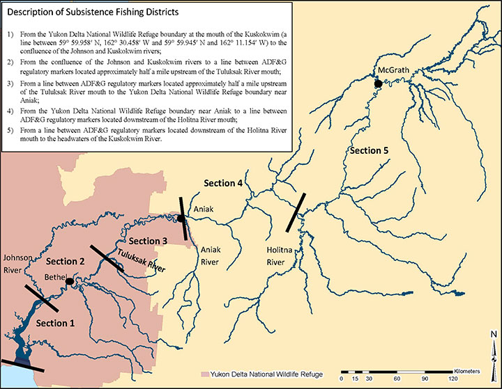 Kuskokwim River Chinook salmon conservation sections map