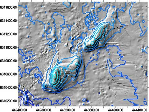 Pinnacles sun shaded bathymetry map