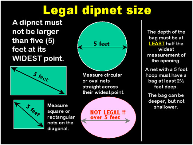 size specifications for a legal dip net