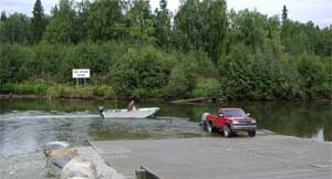 Launching a boat from a boat ramp