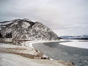 River ice on the Yukon in front of Eagle, Alaska.