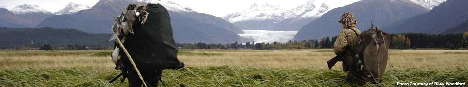 two duck hunters wander across the wetlands with the Mendenhall Glacier in the background