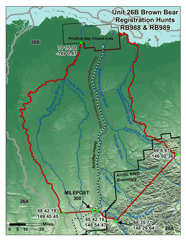Map of Unit 26B Grizzly Bear Registration Hunts
