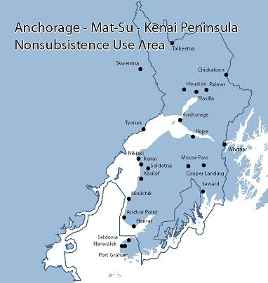 Map of Anchorage-Matsu-Kenai Nonsubsistence Area