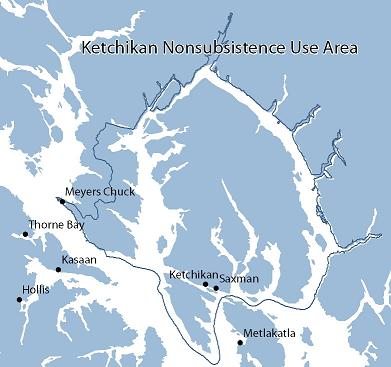 Map of Ketchikan Nonsubsistence Area