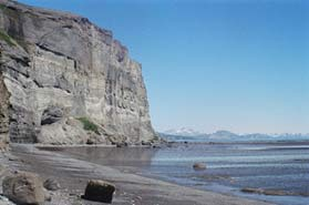 Large rocky bluff and shoreline of the McNeil River State Game Refuge