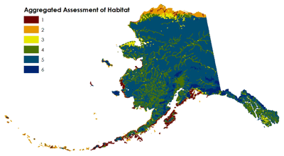 Map showing aggregated assessment of habitat.