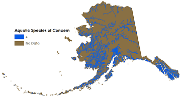 Map showing aquatic species of concern.