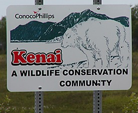 Kenai Wildlife Conservation Community sign
