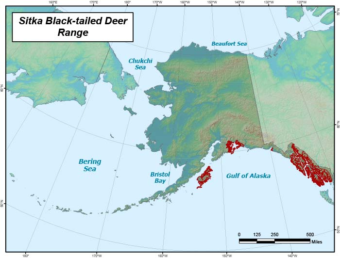 Range map of Sitka Black-tailed Deer in Alaska