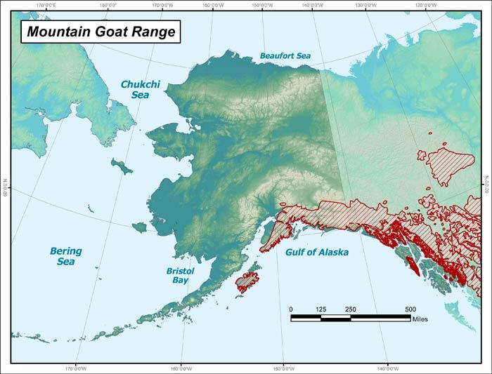 Mountain Goat Range Map, Alaska Department of Fish and Game