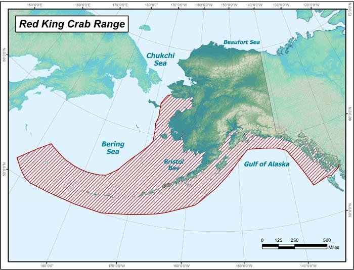 Red King Crab Range Map, Alaska Department of Fish and Game