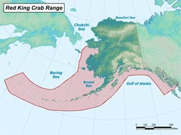 Red King Crab range map